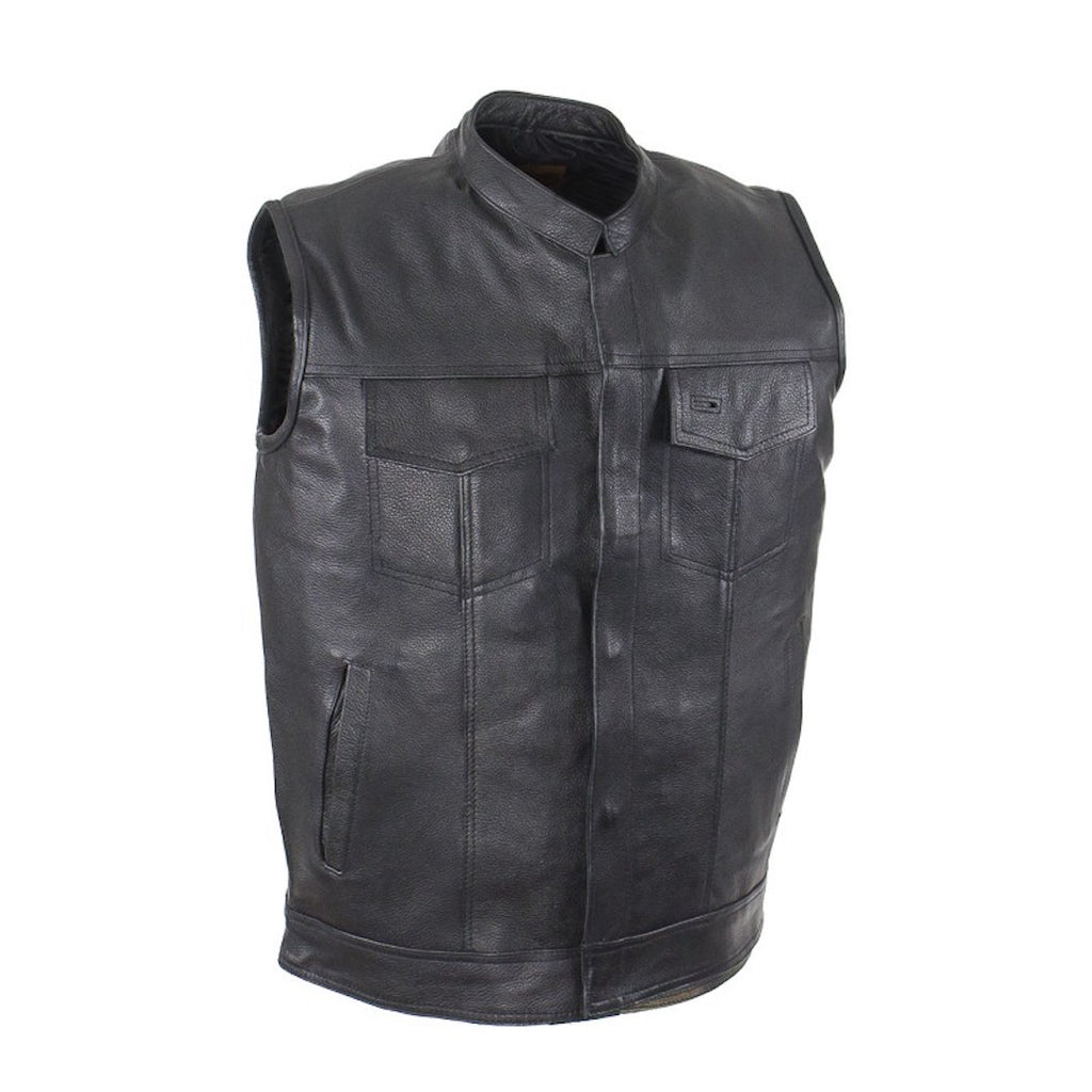 Mens Naked Leather Motorcycle Club Vest Solid Back Concealed Snaps Gun Pockets