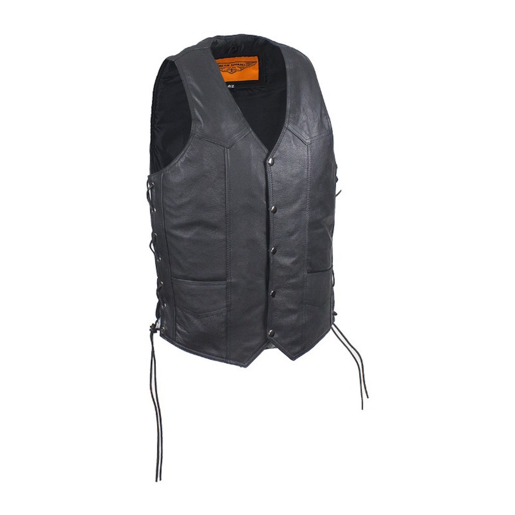 Mens Naked Leather Motorcycle Club Vest With Concealed Carry On Both Sides
