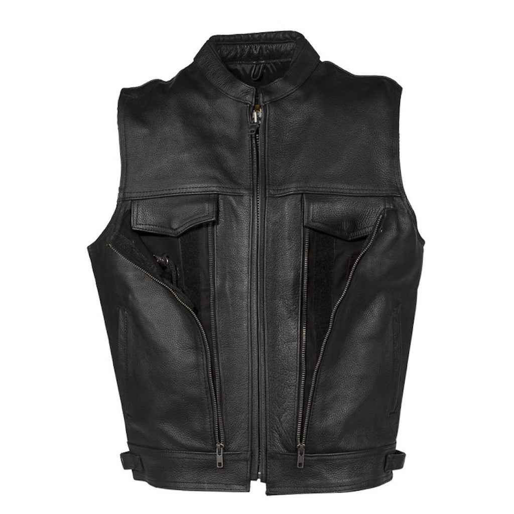 Mens Naked Leather Motorcycle Club Vest With Gun Pocket And Hidden Pockets