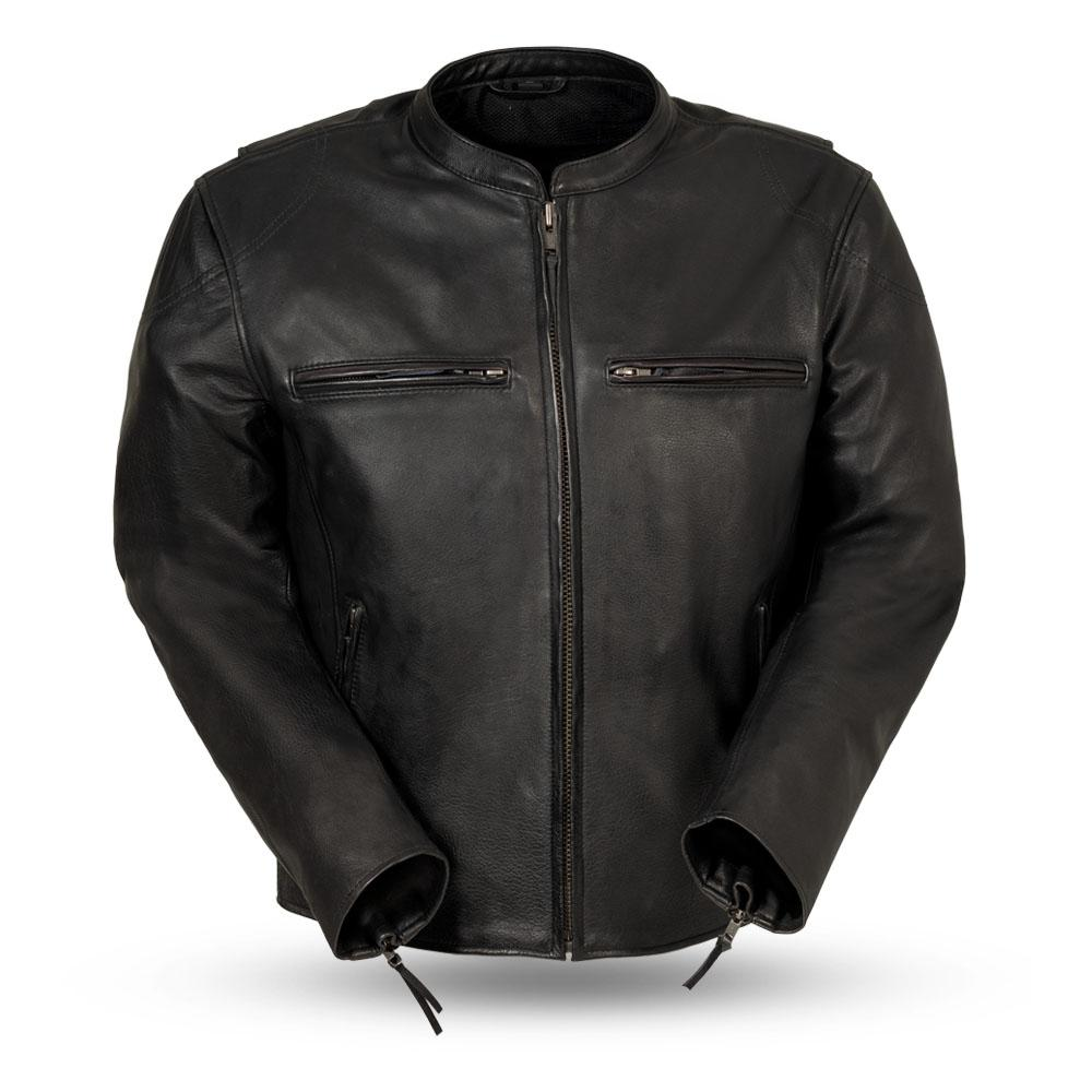 Mens Naked Leather Motorcycle Jacket Armored Pockets Concealed Carry Kevlar Reinforcements