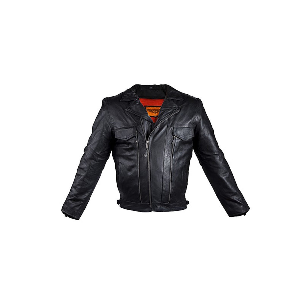 Mens Ultra Soft Naked Leather Motorcycle Jacket With Large Front And Back Zippered Air Vents