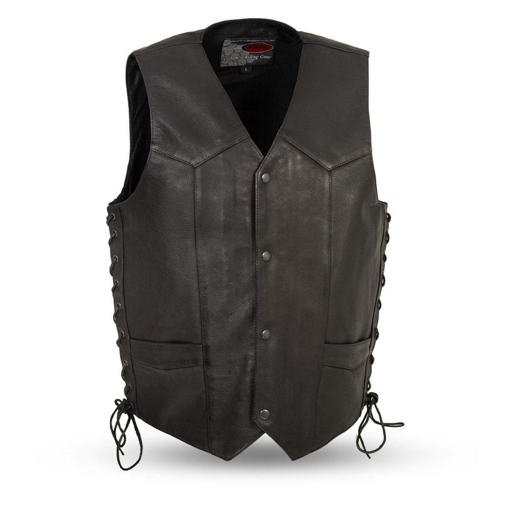 Mens Naked Leather Motorcycle Vest Gun Pockets Solid Back Easy Access Panels For Patches