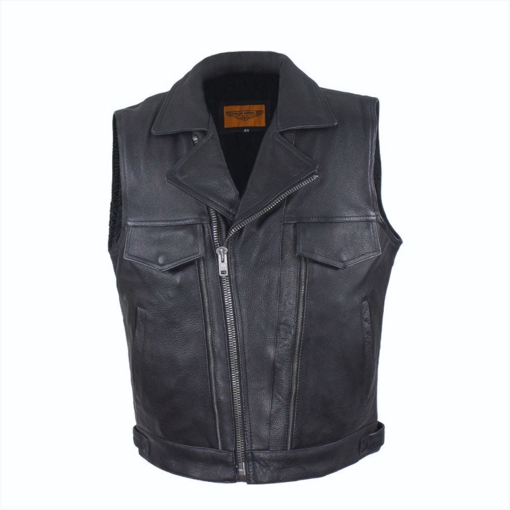 Mens Naked Leather Motorcycle Vest With Two Deep Gun Pockets Lapel Collar