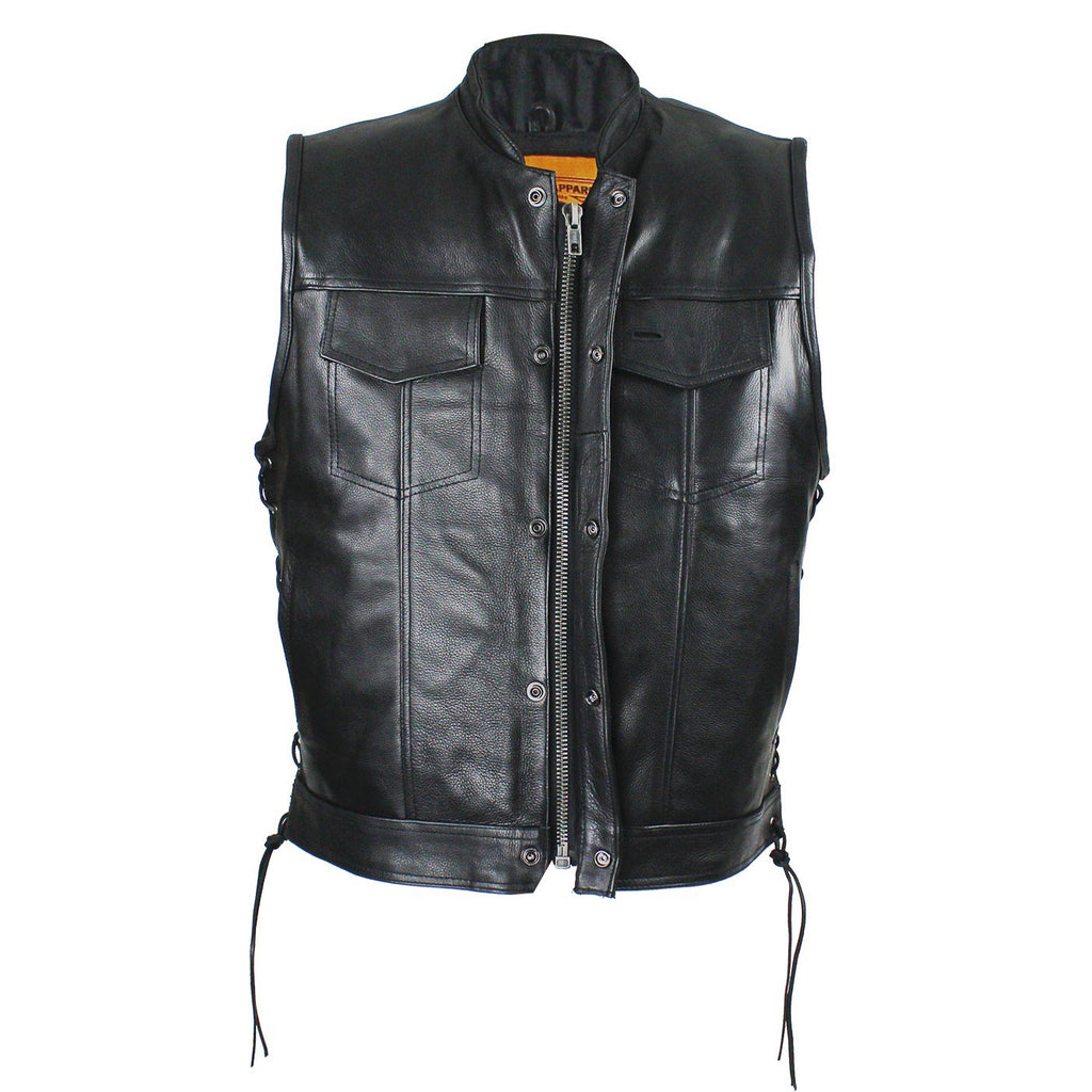 Mens Naked Leather Open Neck Snap/Zip Front Motorcycle Vest With Gun Pockets Solid Back