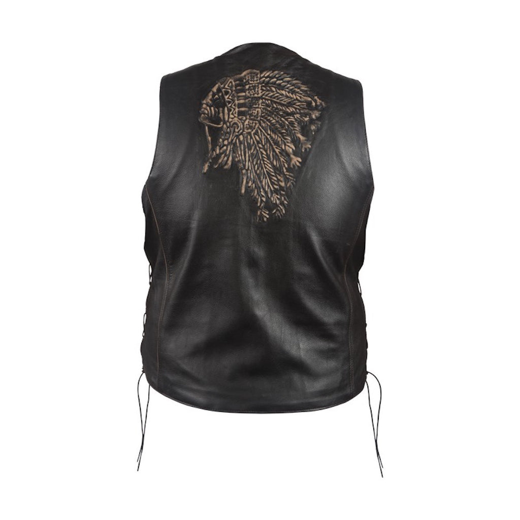 Men's Native American Retro Brown Leather Motorcycle Vest Indian Chief Head on Back