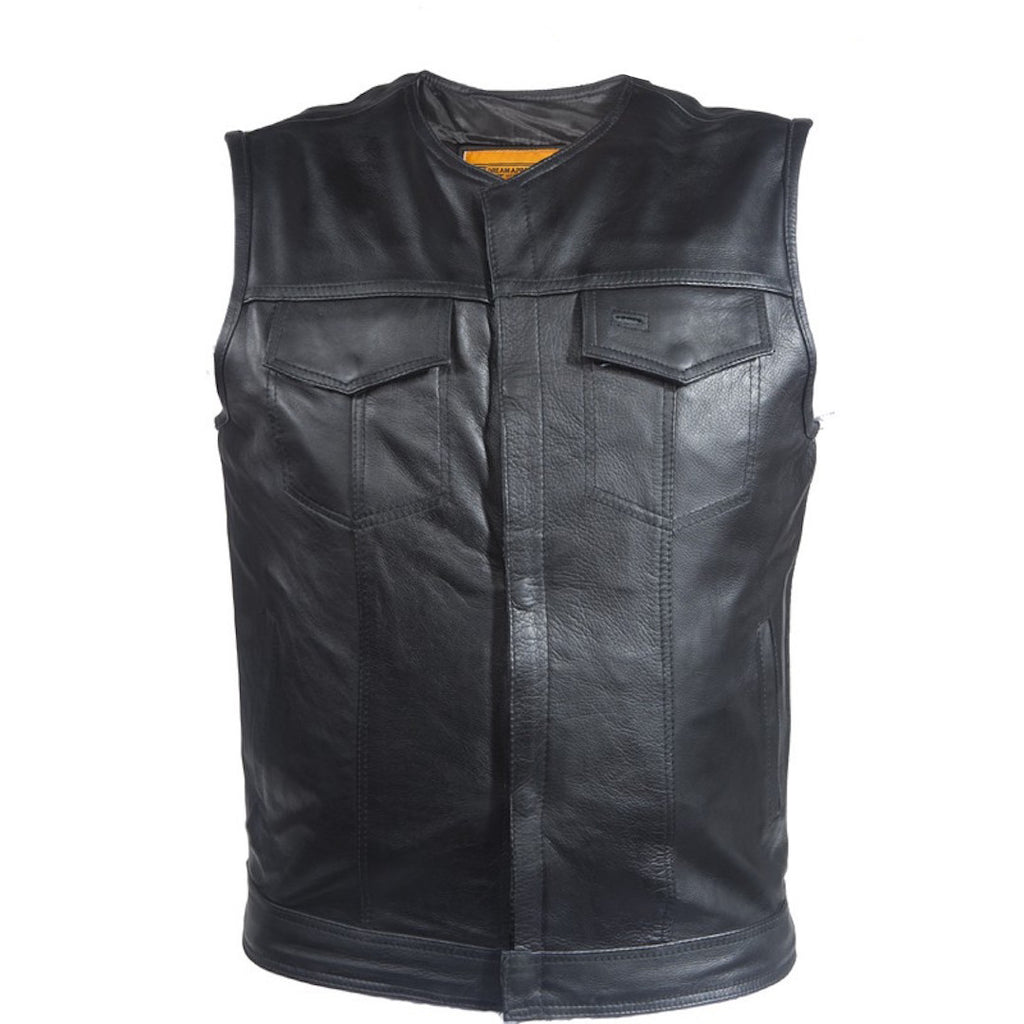 Mens No Collar Split Leather Motorcycle Club Vest With Zippered And Snap Front