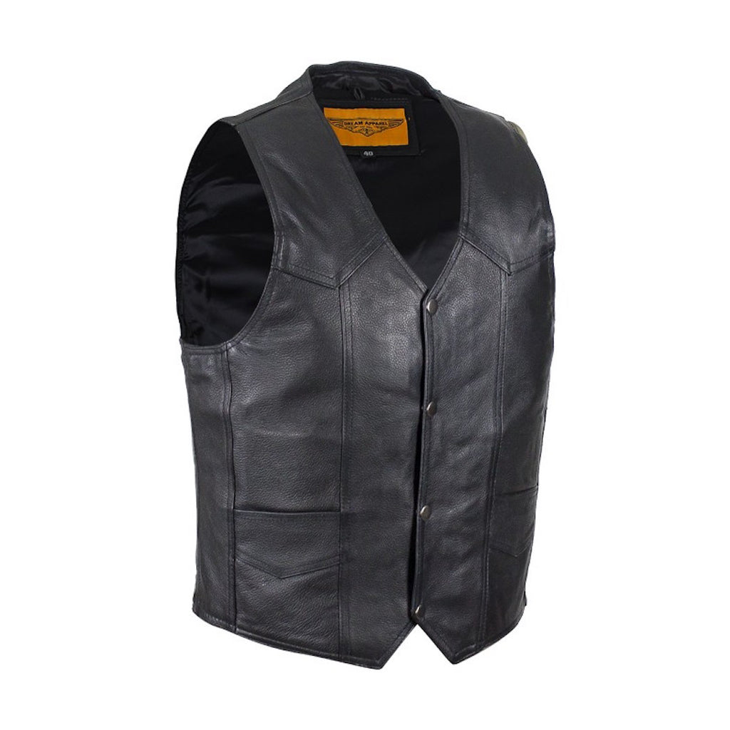 Mens Plain Black Leather Motorcycle Vest With Gun Pocket Solid Back