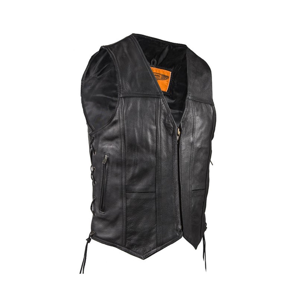 Mens Plain Leather Motorcycle Western Vest With Zipper Front Side Laces