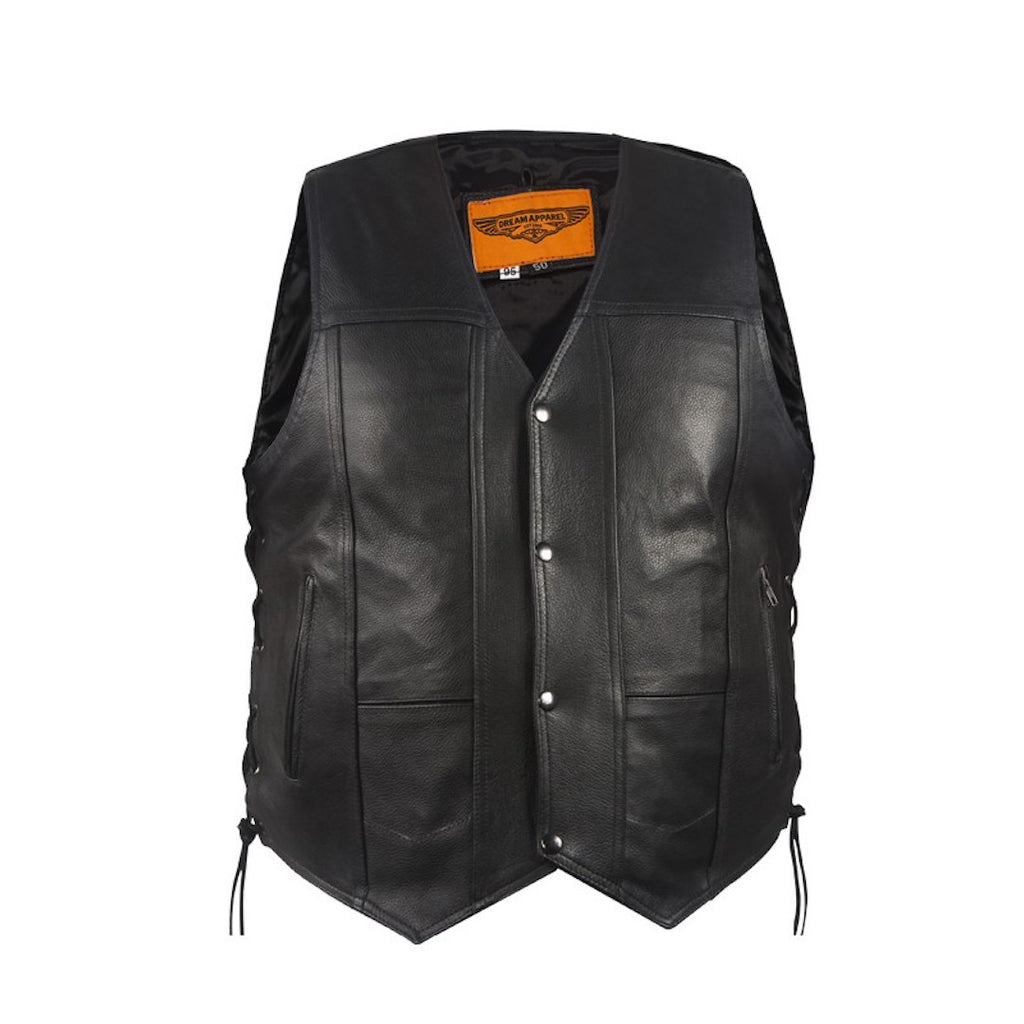 Mens Plain Style Leather Motorcycle Western Vest With Side Laces Gun Pockets