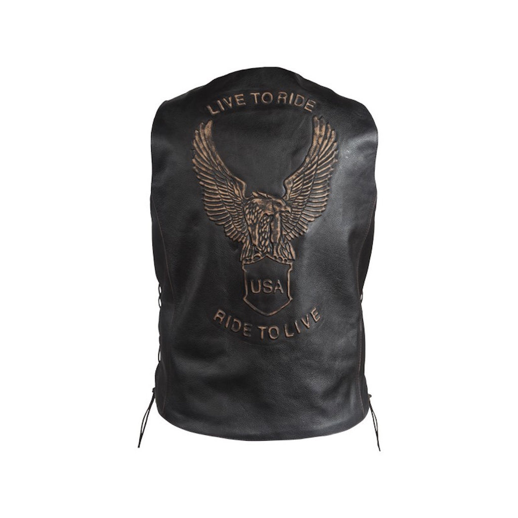 Retro Black Leather Motorcycle Vest With USA Eagle Live To Ride Ride to Live