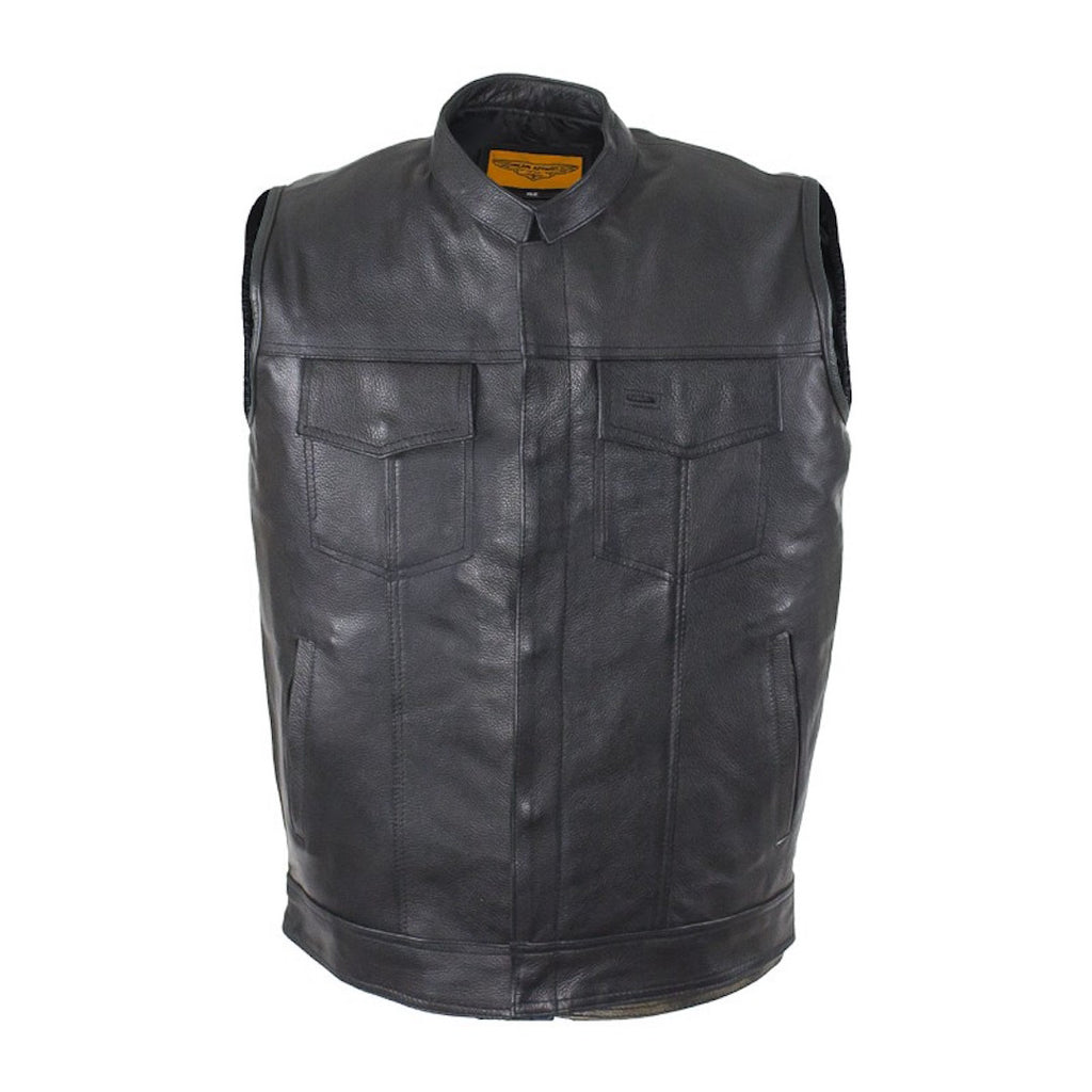 Mens Split Leather Motorcycle Club Vest Solid Back Concealed Snaps Gun Pockets