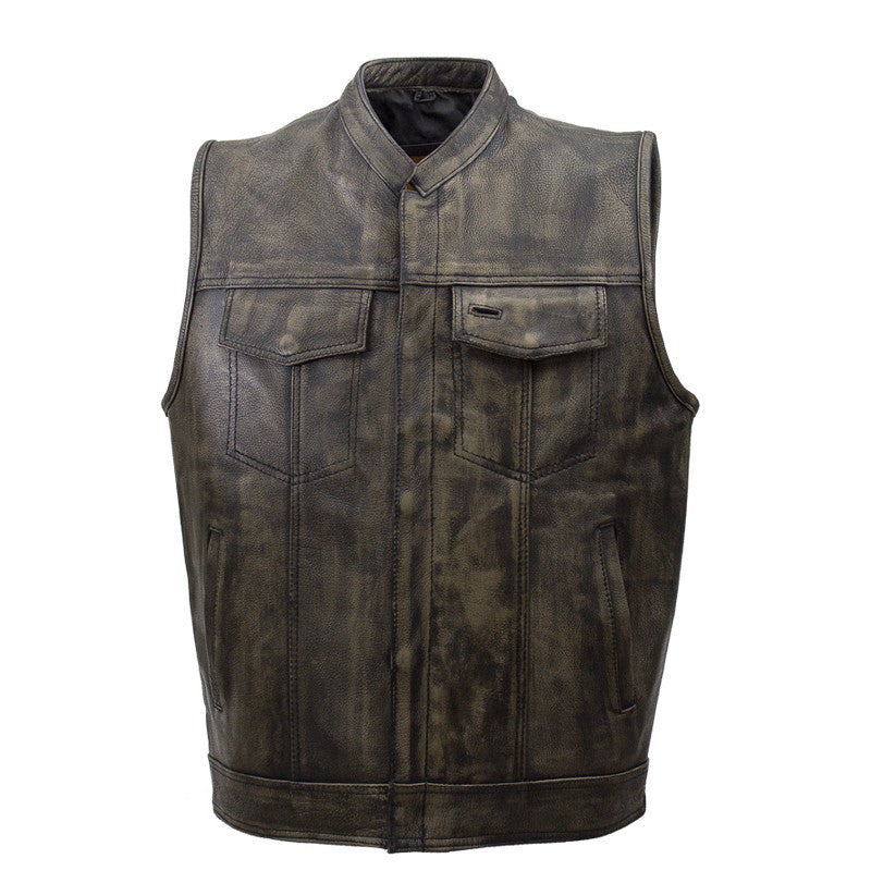 Mens SOA Style Motorcycle Club Distressed Brown Leather Biker Vest Solid Back