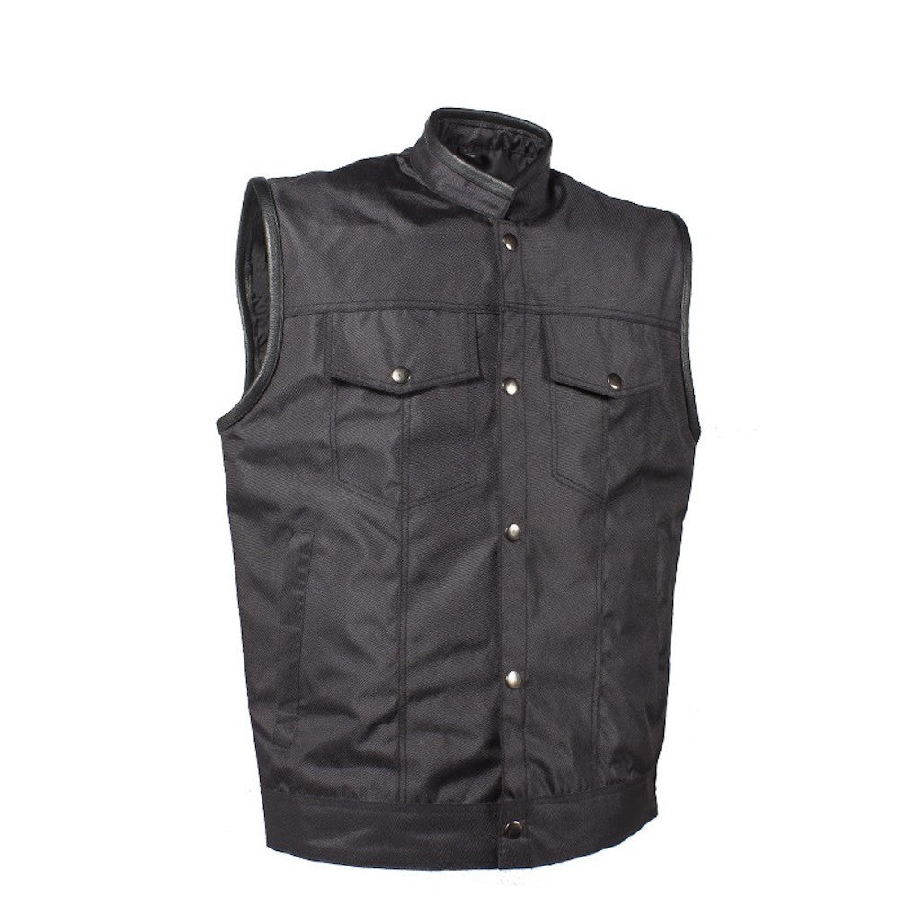 Mens Textile Motorcycle Vest With Concealed Carry Gun Pockets