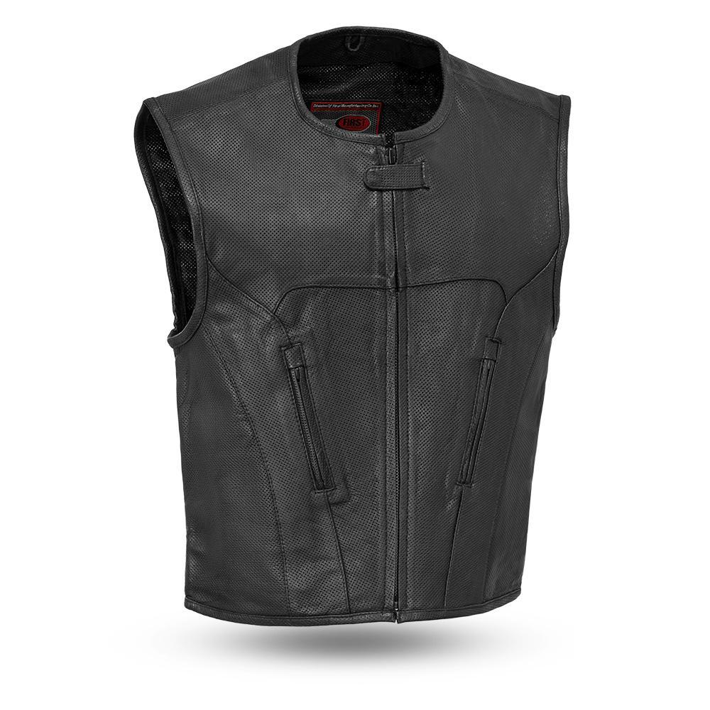 Mens The Raceway Black Lightweight Perforated Seasonal Leather Motorcycle Vest