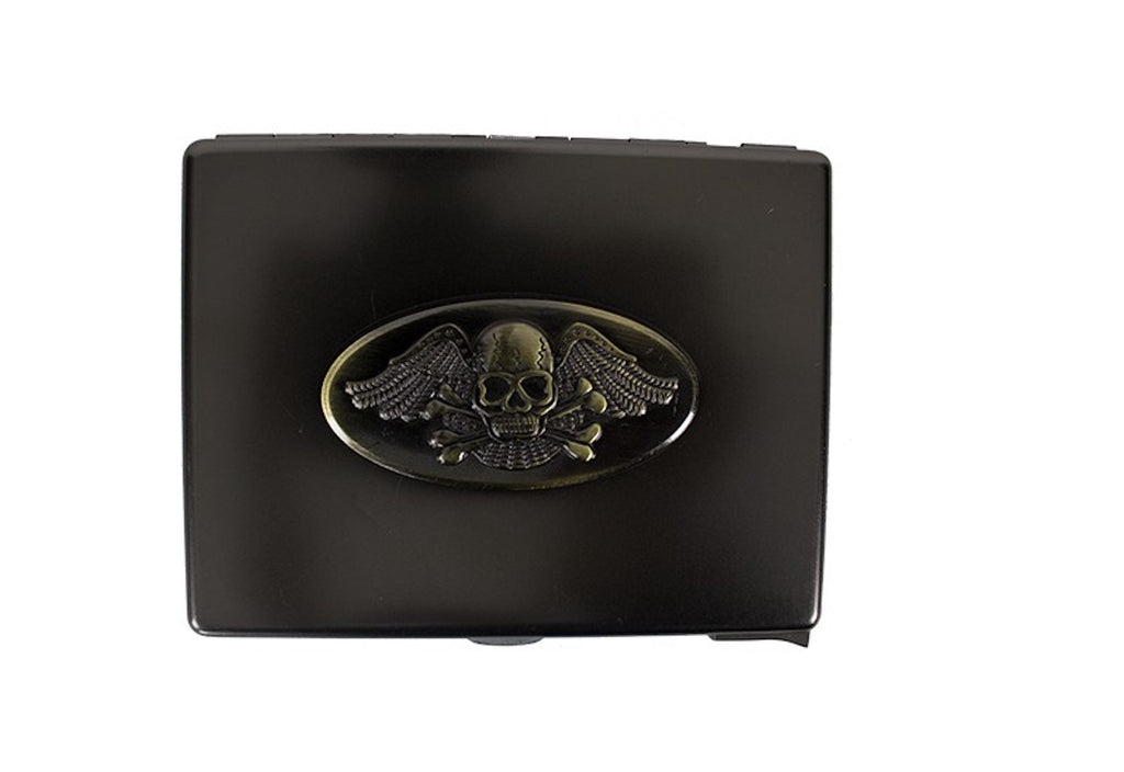 Metal Cigarette Case With Skull And Crossbones