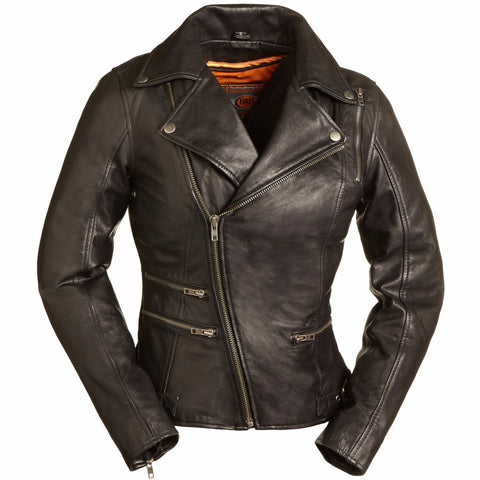 The Monte Carlo Women's Black Naked Leather Motorcycle Jacket Asymmetrical Zip Front