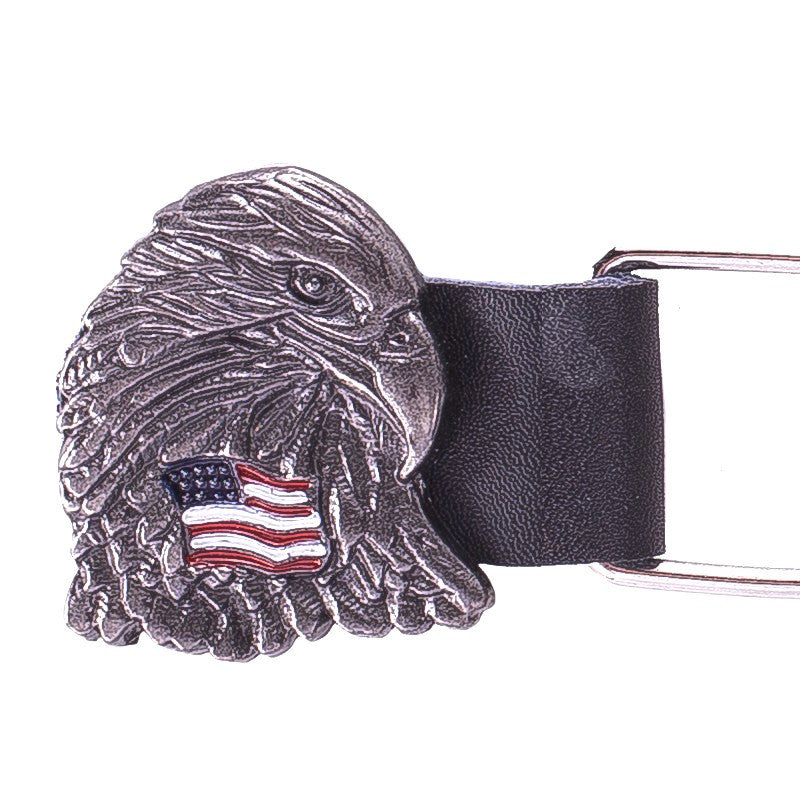 Motorcycle Chain Vest Extender With Eagle Head And USA Flag