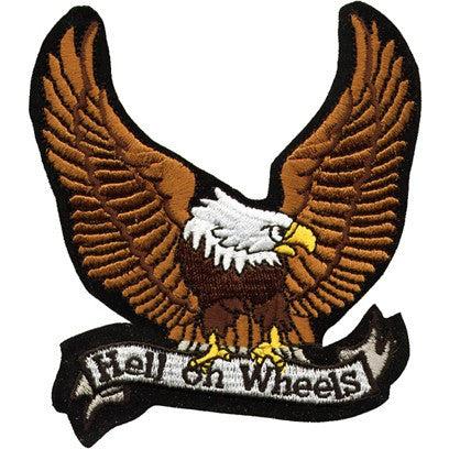 "Large Motorcycle Vest Patch With Eagle ""Hell on Wheels"" 8.5"" x 8.5"""