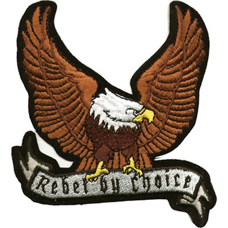 "Large Motorcycle Vest Patch With Eagle ""Rebel by Choice"" 8.5"" x 8.5"""