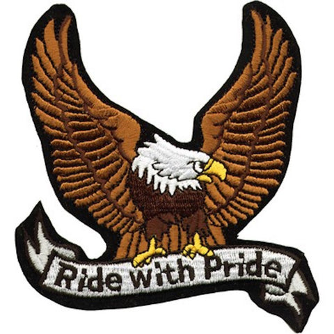 "Large Motorcycle Vest Patch With Eagle ""Ride with Pride"" 8.5"" x 8.5"""