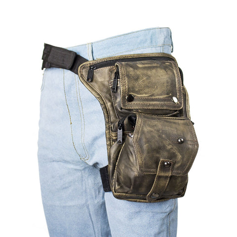 Multi Pocket Thigh Bag with Gun Pocket Distressed Brown Leather