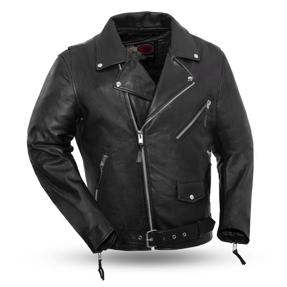 Mens Drum Dyed Naked Leather Motorcycle Jacket Armored Pockets For CE Rated Armor