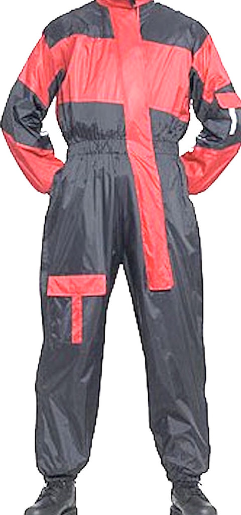 One Piece Motorcycle Rain Suit With Night Vision Reflectors On Front And Back