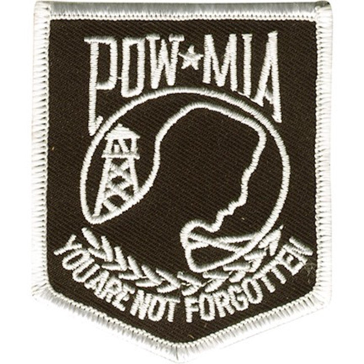 "POW MIA Banner With White Outline Large Motorcycle Vest Patch 9"" x 7.5"""