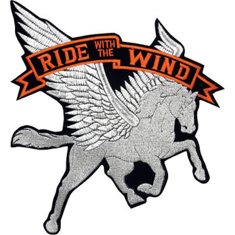 "Pegasus Horse ""Ride with the Wind"" Large Motorcycle Vest Patch 13"" x 12"""
