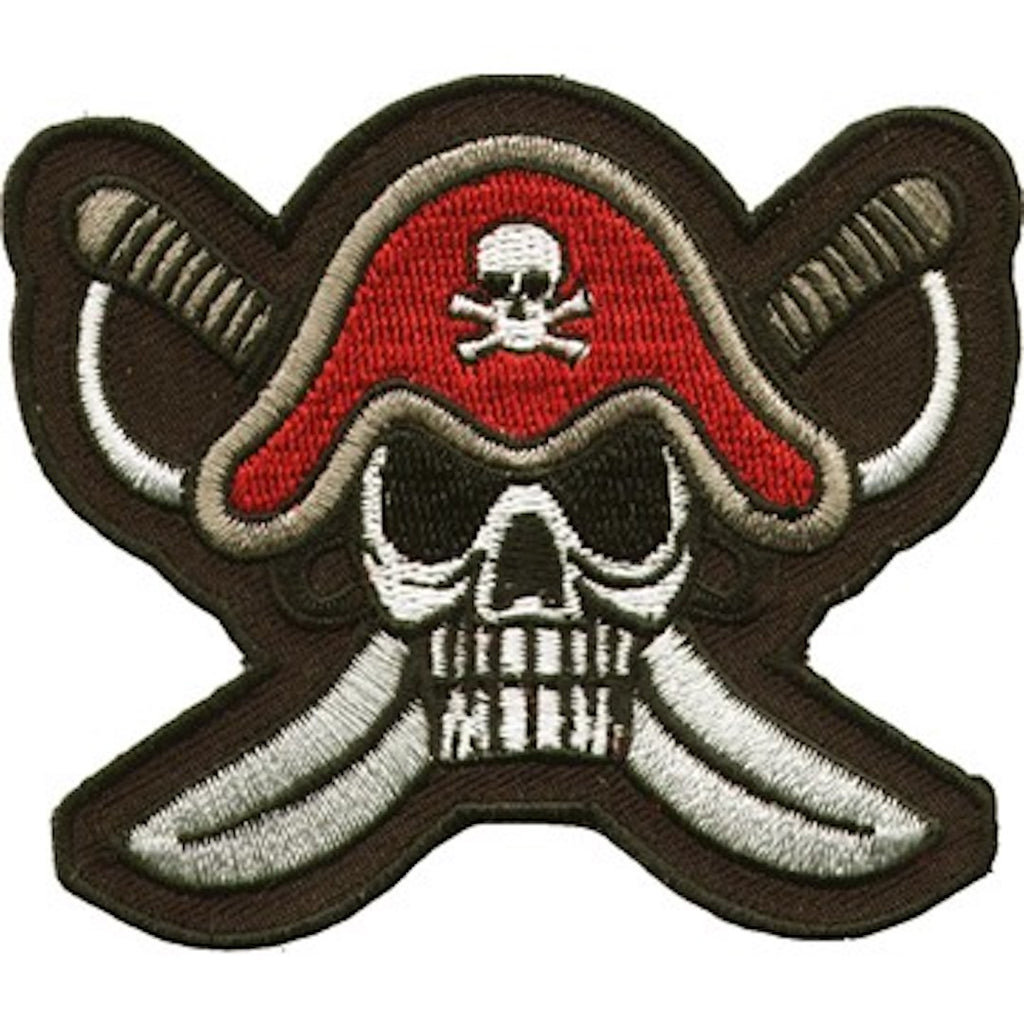 "Pirate Captains Hat Skull and Crossbones Patch 7.5"" x 9"""