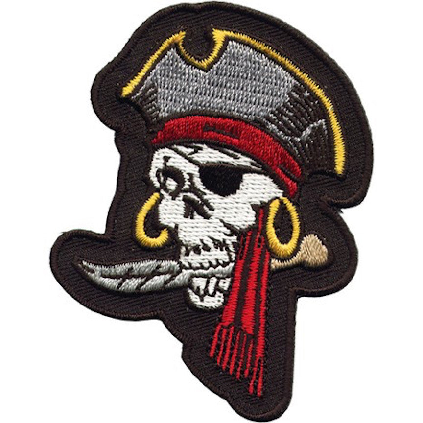 "Pirate Skull With Eye-Patch Large Motorcycle Vest Patch 9"" x 6.5"""