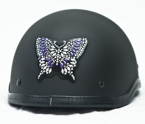 Purple Butterfly Rhinestone Helmet Patch