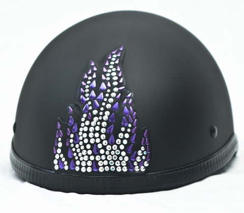 Purple Flame Rhinestone Motorcycle Helmet Patch