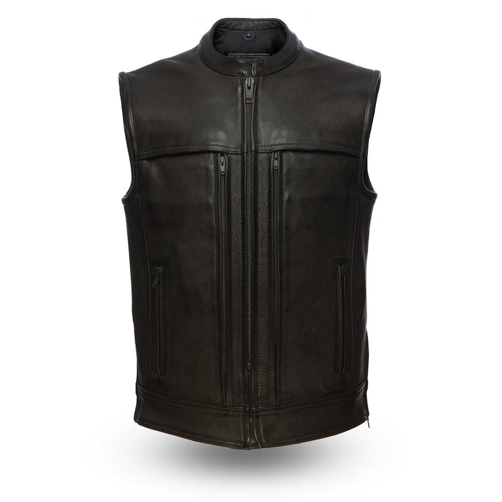 14 Pocket 1.4mm Leather Motorcycle Vest With Gun Pockets Solid Back Banded Collar