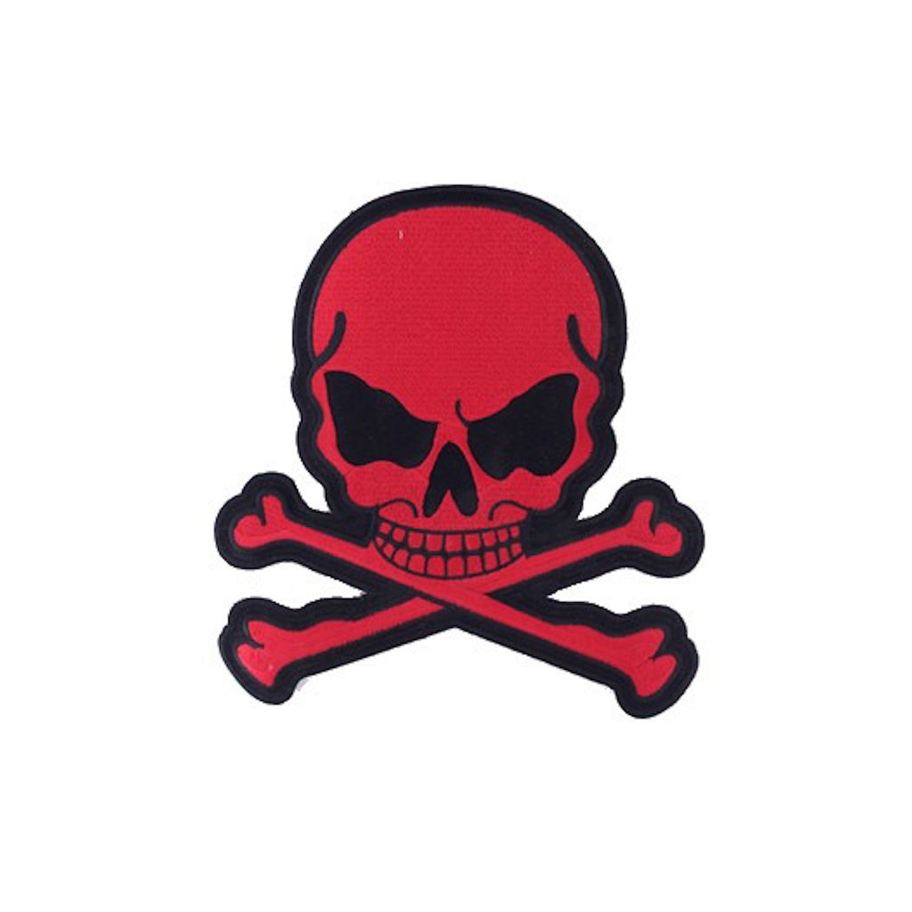 "Red Skull and Crossbones Large Motorcycle Vest Patch 8"" x 7"""