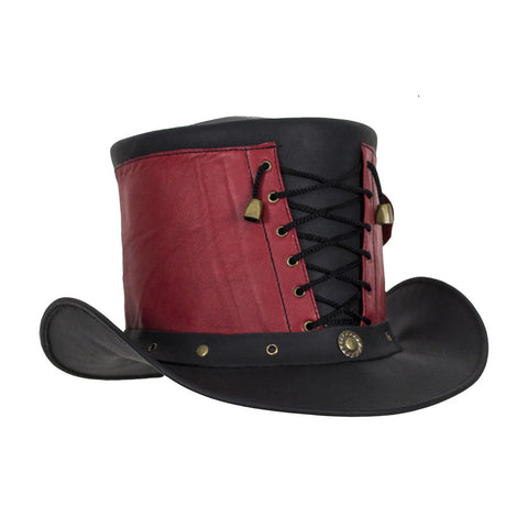 7ceb22fae2c Red and Black Leather Deadman Top Hat