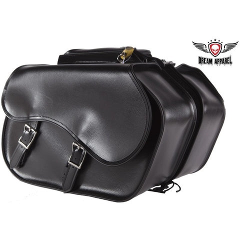 "PVC Waterproof Motorcycle Saddlebag Plain Zip Off Bag 16.25"" x 6.75"" x 11.50"