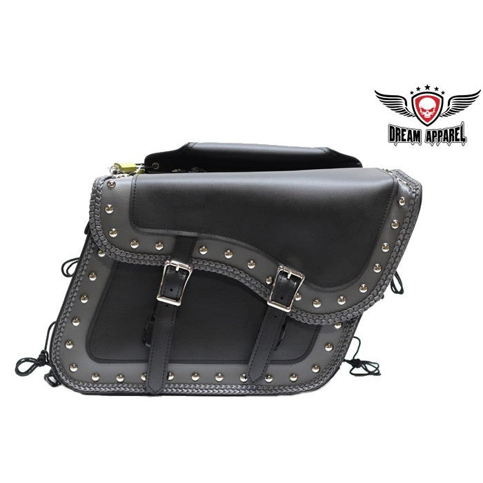 PVC Waterproof Motorcycle Saddlebag with Quick-Release, Studs