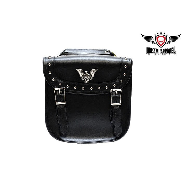 "PVC Waterproof Motorcycle Saddlebag with Quick-Release, Studs 11""x4""x11"