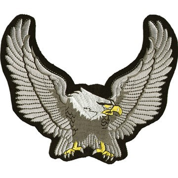 "Silver Eagle Wings Spread Motorcycle Vest Patch 7"" x 8"""