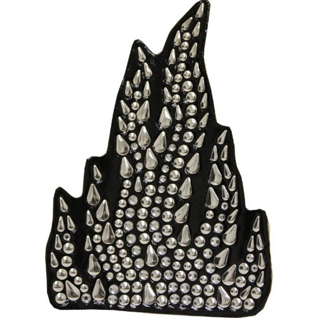 Silver Flame Rhinestone Motorcycle Helmet Patch
