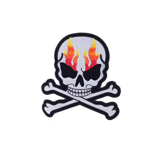 "Silver Metallic Skull And Crossbones With Flames Large Motorcycle Vest Patch 8"" x 7"""