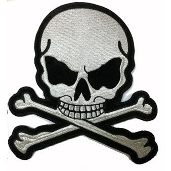 "Silver Metallic Skull and Crossbones Large Motorcycle Vest Patch 8"" x 7"""
