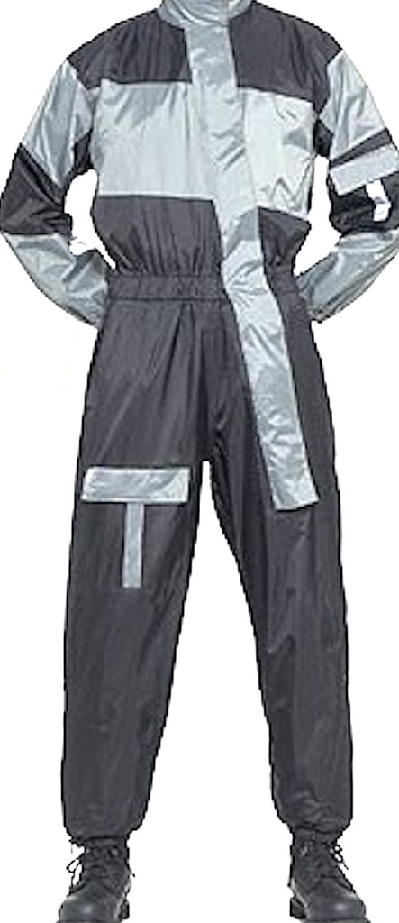 Silver One Piece Motorcycle Rain Suit With Night Vision Reflectors On Front And Back