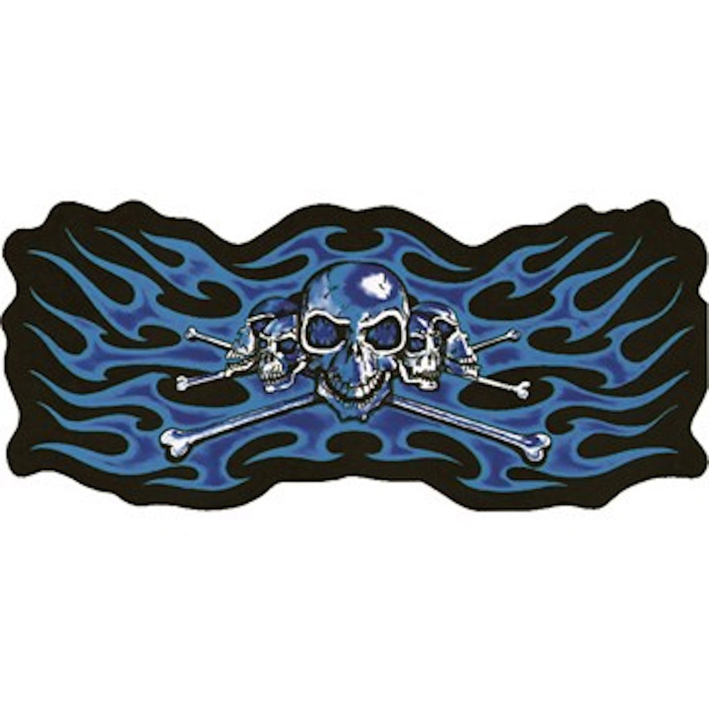 "2"" x 3.5"" Blue Skeleton Heads With Flames Small Motorcycle Vest Patch"
