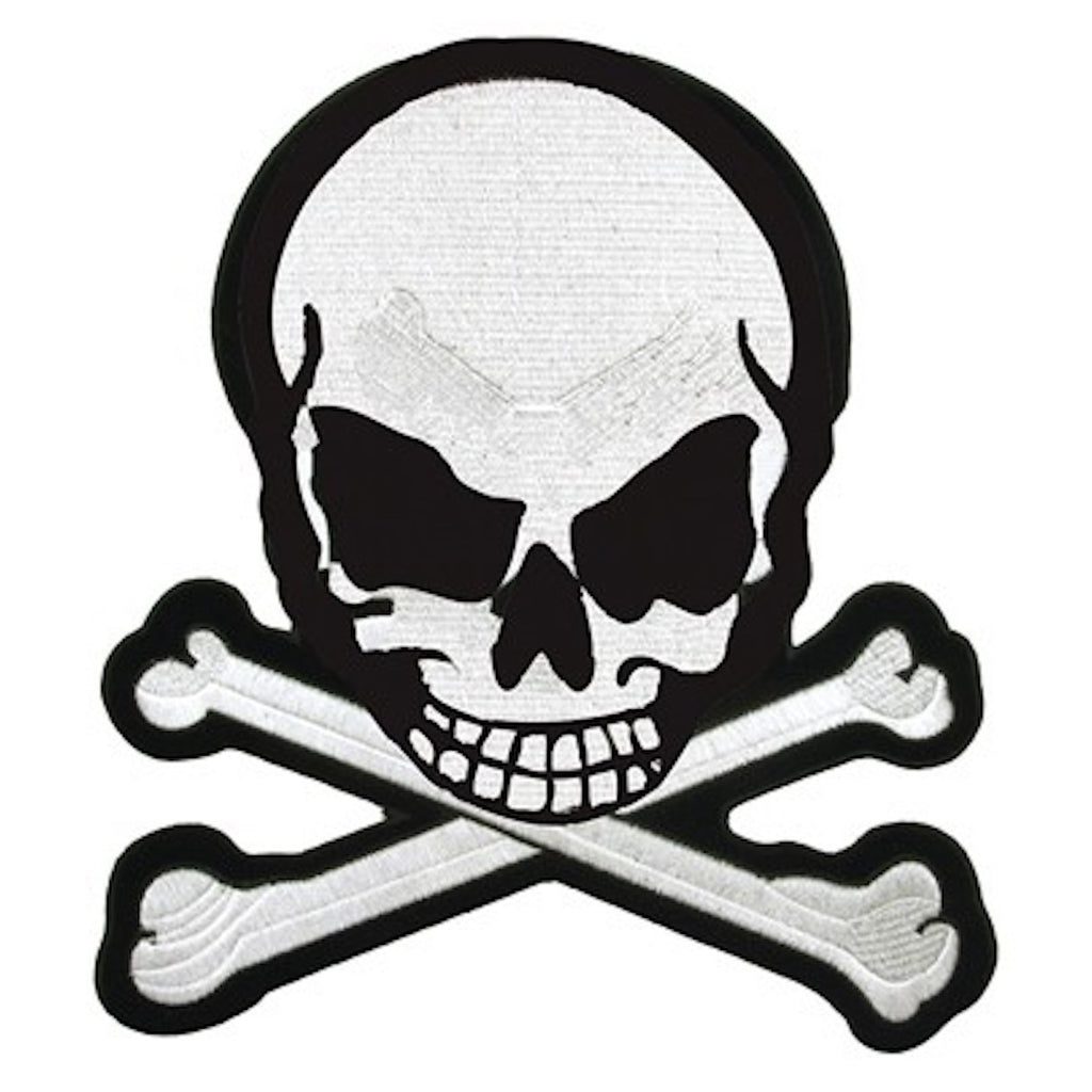 "Skull And Crossbones Large Motorcycle Vest Patch 8"" x 7"""