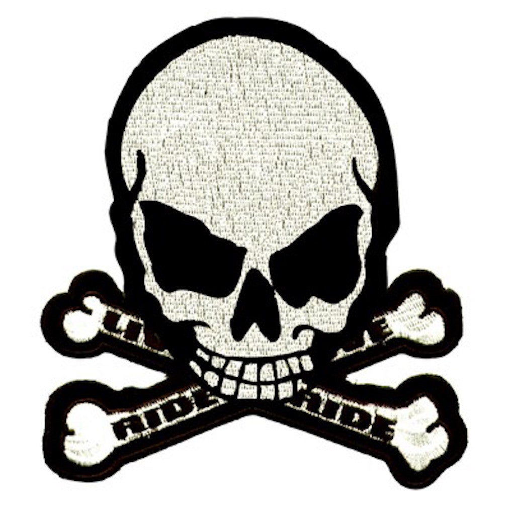 "Skull And Crossbones ""Ride to Live, Live to Ride"" Large Motorcycle Vest Patch 8"" x 7"""