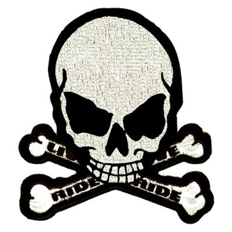 "Skull And Crossbones ""Live to Ride Ride to Live"" Motorcycle Vest Patch 3"" x 2.5"""