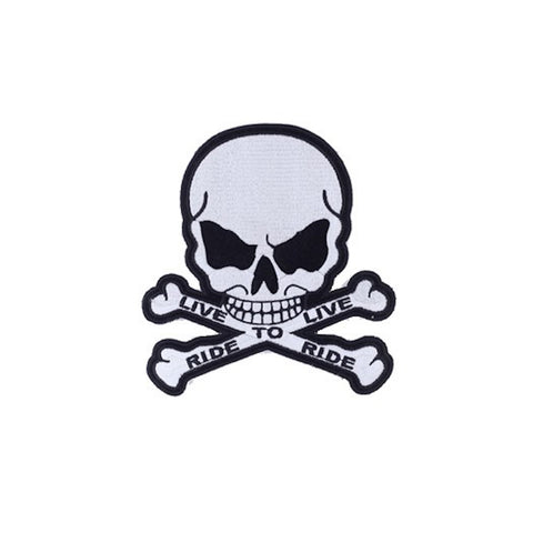 "Skull And Crossbones ""Ride to Live, Live to Ride"" Medium Motorcycle Vest Patch 5.5"" x 5"""