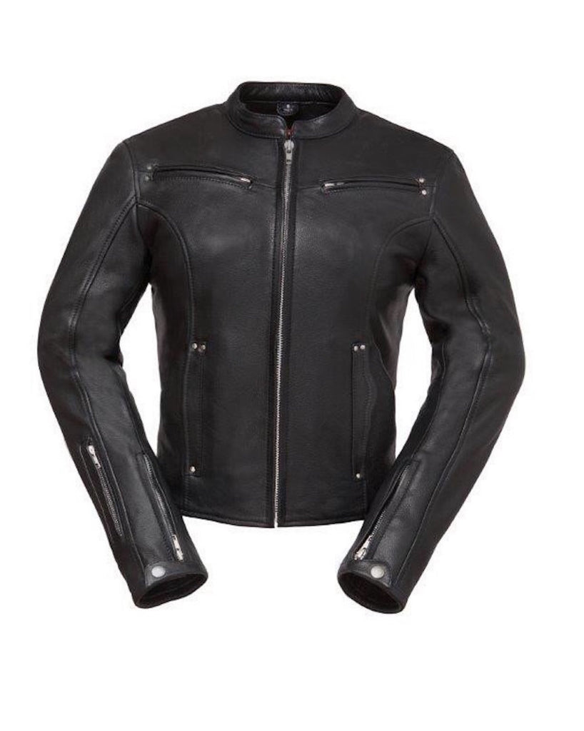 Speed Queen Women's Black Naked Leather Vented Motorcycle Jacket Mandarin Collar